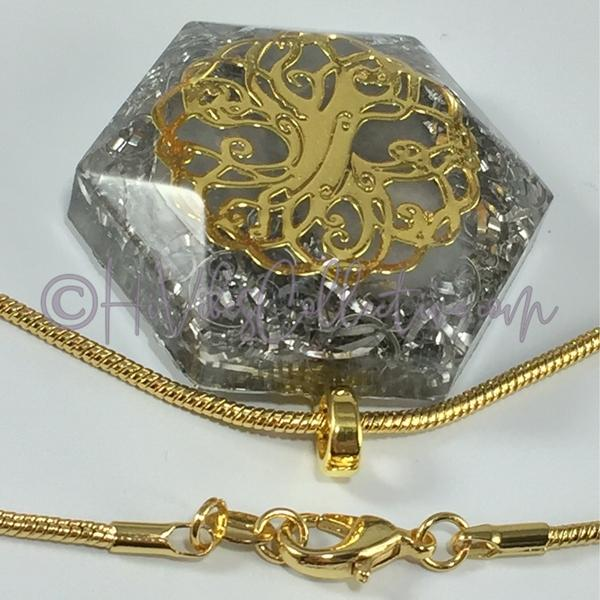 Tree of Life Hexagon Orgone Pendant with Cat's Eye and Aluminum Shavings (H-0008)-HiVibes Collective