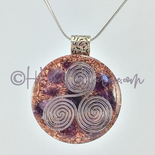 Triskelion Circular Orgone Pendant with Amethyst and Copper Shavings (C-0008)-HiVibes Collective