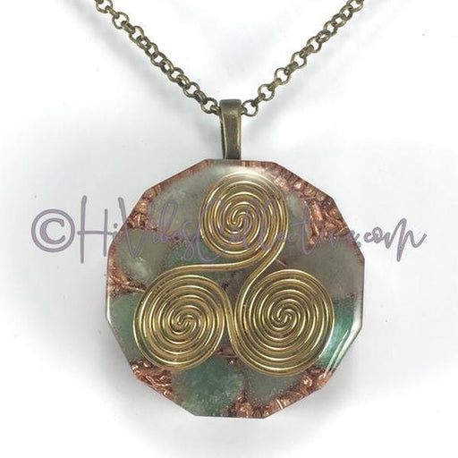 Triskelion Dodecagon Orgone Pendant with Green Aventurine and Copper Shavings (D-0008)-HiVibes Collective