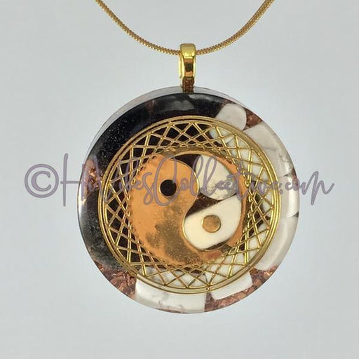 Yin Yang Circular Orgone Pendant with Howlite, Black Obsidian and Copper Shavings (C-0028)-HiVibes Collective