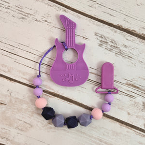 Purple Guitar - Teether with Pacifier Clip
