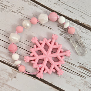 Pink Snowflake - Teether with Pacifier Clip
