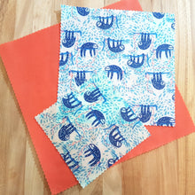Load image into Gallery viewer, Beeswax Food Wraps - Blue Swaying Sloths - Standard Set of 3