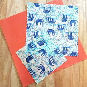 Beeswax Food Wraps - Blue Swaying Sloths - Standard Set of 3