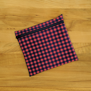 Reusable Zipper Bag - Medium - Red + Navy Plaid