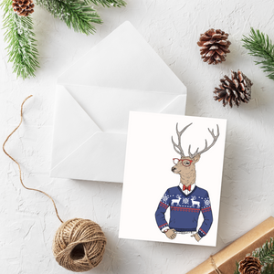 Hipster Deer Christmas Card Set