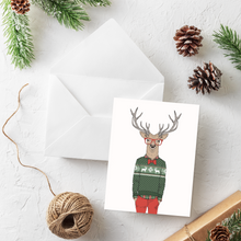 Load image into Gallery viewer, Hipster Deer Christmas Card Set