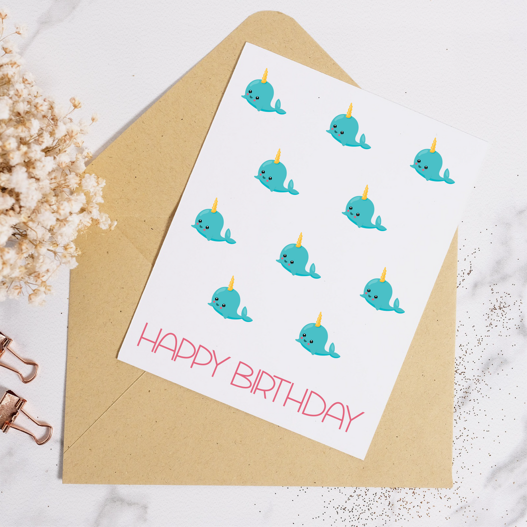 Narwhal - Birthday Card