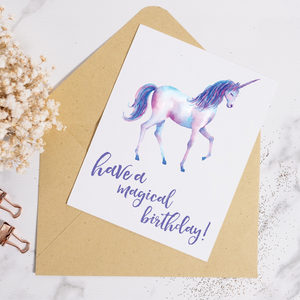 Unicorn Magical Birthday - Birthday Card
