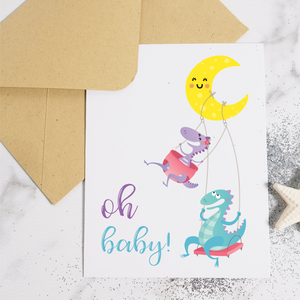 Dinos Oh Baby! - New Baby Card
