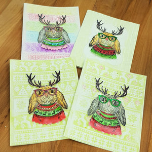 Mother North - Hipster Bunnies - Christmas Card Set