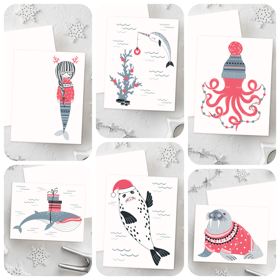 Mermaid Christmas Card Set