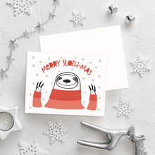 Load image into Gallery viewer, Sloth-Mas Christmas Card Set