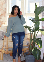 Load image into Gallery viewer, Cold Shoulder Sweater - Seafoam Green