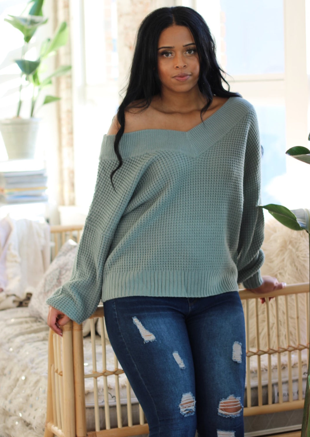 Cold Shoulder Sweater - Seafoam Green