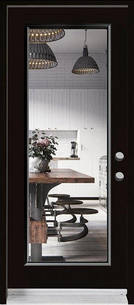 1-Lite Clear Glass Entry Doors-BLACK Exterior