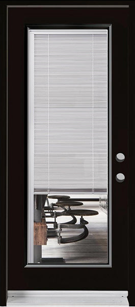 Full Length Miniblind Glass Entry Doors-BLACK Exterior