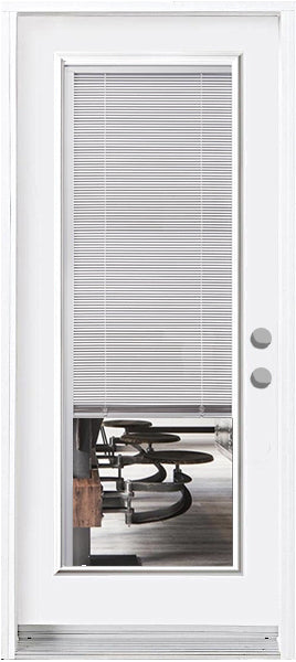 Full Length Miniblind Glass Entry Doors-Prefinished White