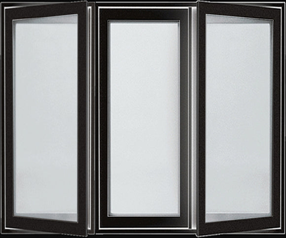 STANDARD 3-SECTION CASEMENT WINDOWS TO ORDER-BLACK EXTERIOR