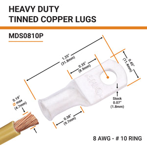 8 AWG (8 Gauge) Tinned Copper Battery Cable Ends, Wire Lugs, Marine Grade