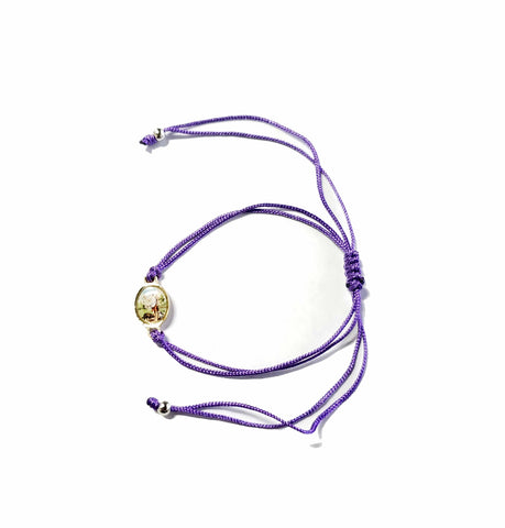 Purple String Bracelet with Saint Lazarus