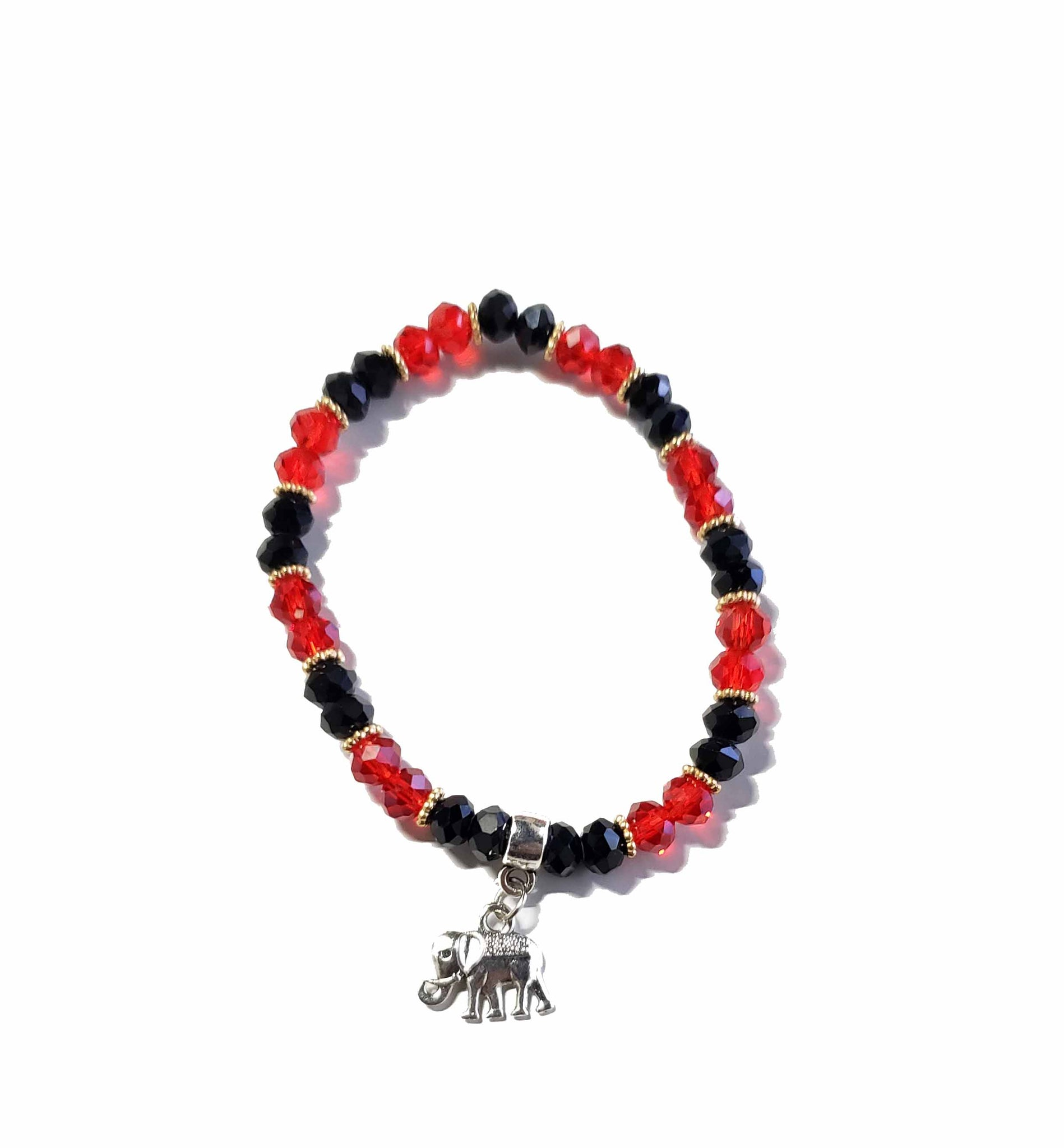 Red and Black Bracelet with Elephant