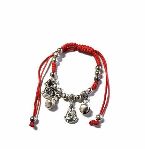 Red String Bracelet with Buddha and Jingle Bells
