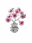 Evil Eye Tree with Pink Flowers in Silver Money Bag