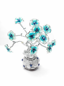 Evil Eye Tree with Blue Flowers in Silver Money Bag