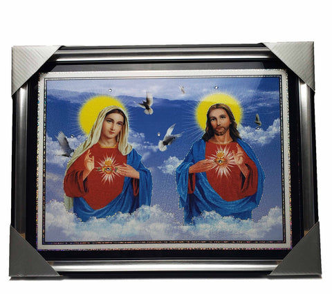 Immaculate Heart of Mary and Sacred Heart of Jesus on Frame