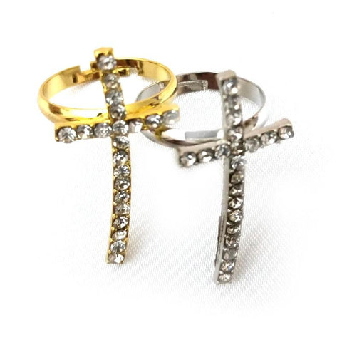 Gold Silver Cross Ring