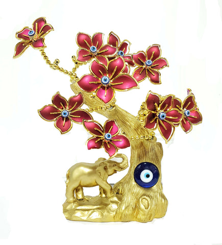 Gold Elephant Red Evil Eye Tree