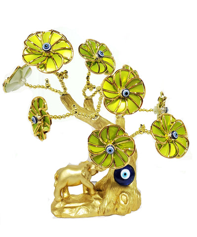 Gold Elephant Lime Green Evil Eye Tree