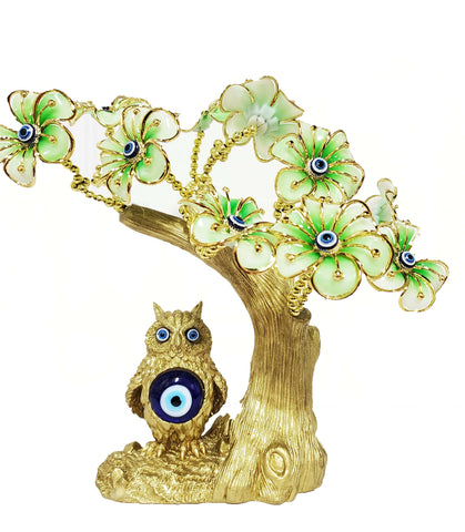 Gold Owl Green Flowers Evil Eye Tree