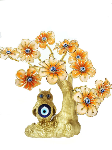 Gold Owl Orange Flowers Evil Eye Tree