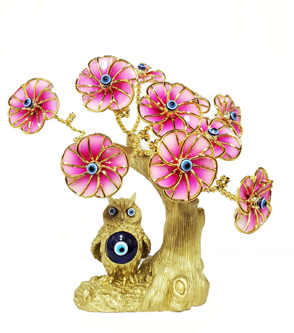 Gold Owl Pink Flowers Evil Eye Tree