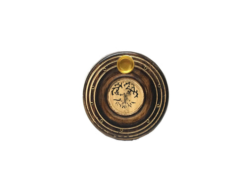 Wooden Round Incense / Cone Burner