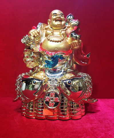 Laughing Buddha with Koi fish Statue 11""