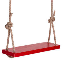 Painted Red Wooden Tree Swing