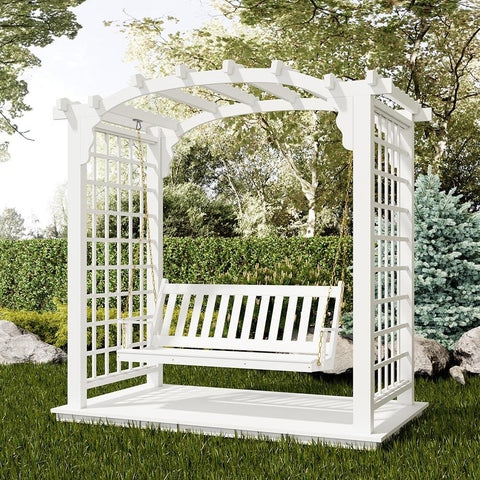 Hanging Swing With White Painted Garden Arbor