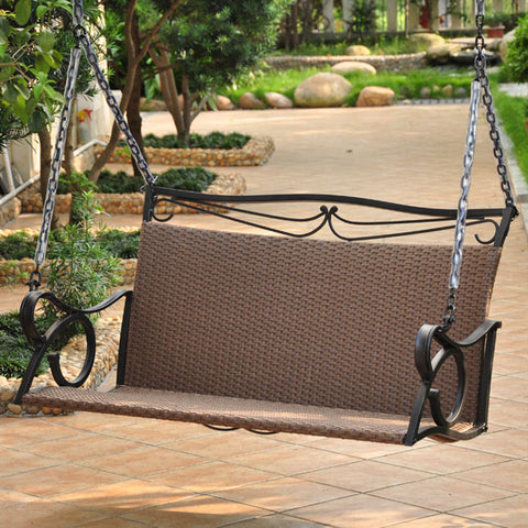 International Caravan Valencia 4ft. Resin Wicker Porch Swing