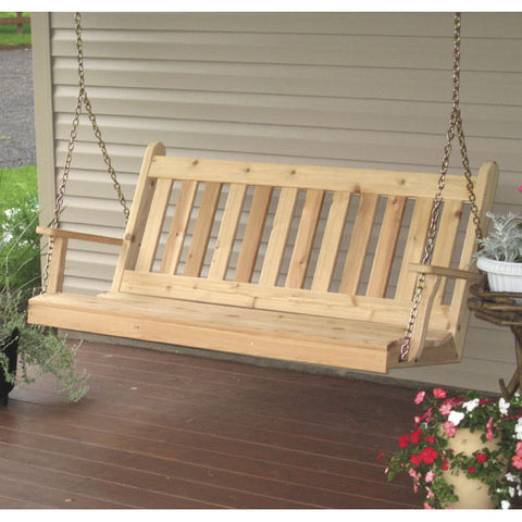 A&L Furniture Co. Traditional English Red Cedar Porch Swing