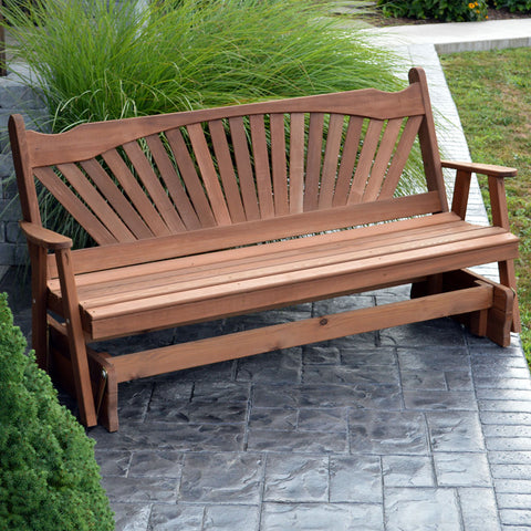 A&L Furniture Co. Fanback Red Cedar Porch Glider