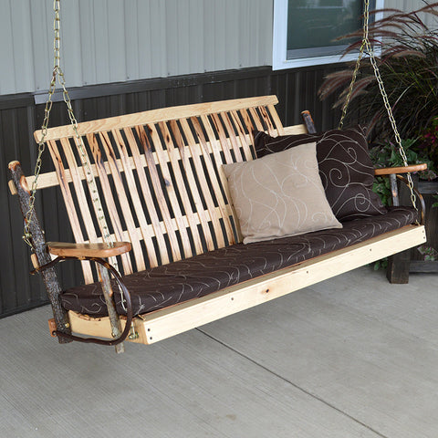 A&L Furniture Co. Rustic Hickory Porch Swing