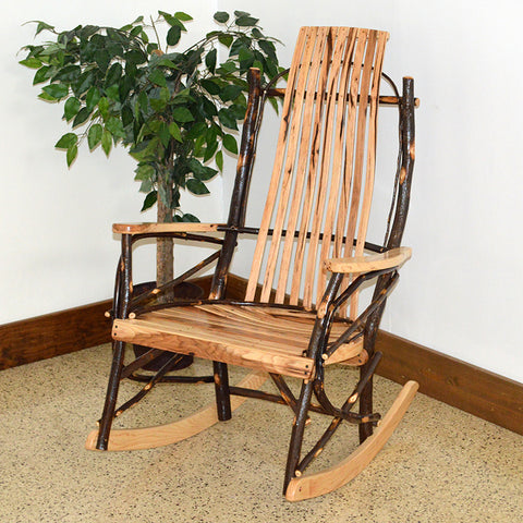 A&L Furniture Co. Rustic Hickory 9-Slat Rocking Chair
