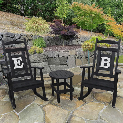 A&L Furniture Co. Monogram 3pc. Recycled Plastic Rocking Chair Set