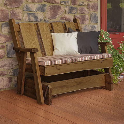 A&L Furniture Co. Blue Mountain Live Edge Timberland Porch Glider