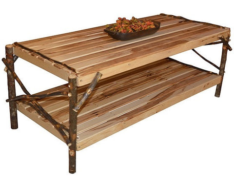 A&L Furniture Co. Rustic Hickory Coffee Table W/ Shelf
