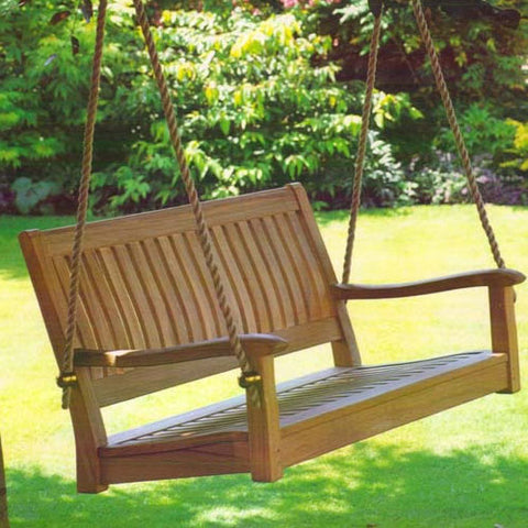 All Things Cedar Curved Back 4ft. Teak Porch Swing