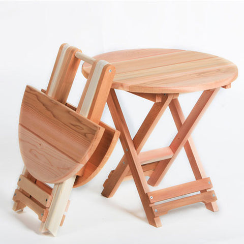 All Things Cedar Round Red Cedar Folding Side Table